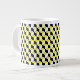 Blue, Yellow, White Shaded 3D Look Cubes Giant Coffee Mug