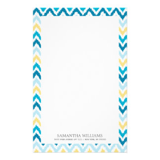 Blue Yellow Zigzag Ikat Pattern Stationery