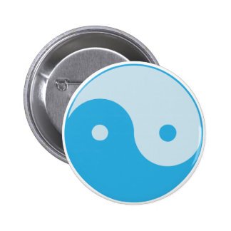 Blue Yin/Yang 6 Cm Round Badge