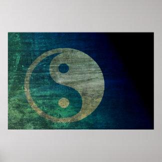 Blue Yin Yang Poster