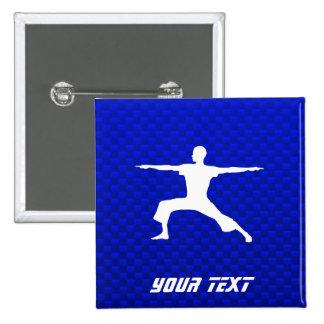 Blue Yoga Pinback Buttons