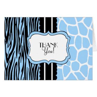 Blue Zebra and Giraffe-Thank You Stationery Note Card