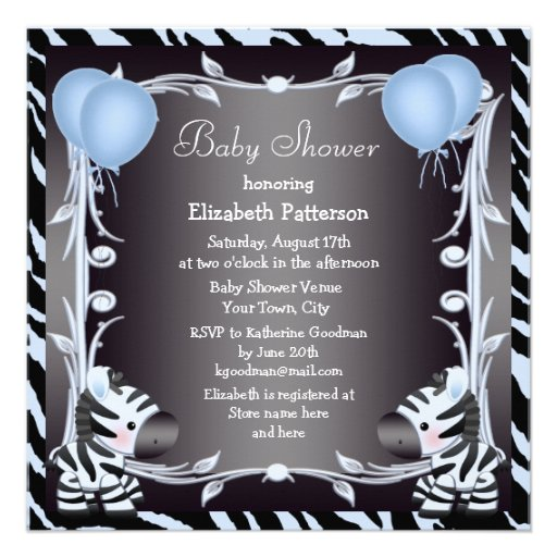 Blue Zebra & Balloons Animal Print Baby Shower Personalized Invite
