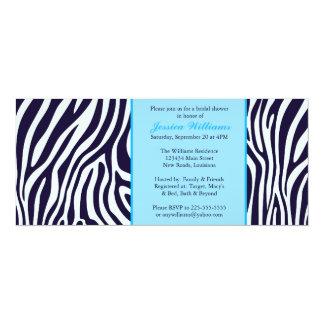 Blue Zebra Bridal Shower 10 Cm X 24 Cm Invitation Card