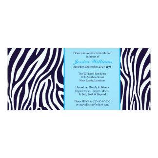 Blue Zebra Bridal Shower Custom Invitations