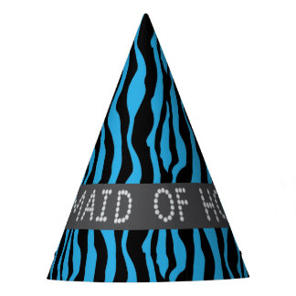 Blue Zebra Faux Diamond Maid Of Honor Party Hats