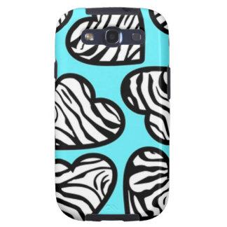 Blue zebra hearts BlackBerry Samsung Galaxy Case Galaxy SIII Cases