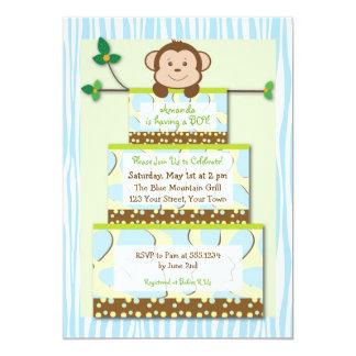 Blue Zebra Monkey Cake Baby Shower Invitation