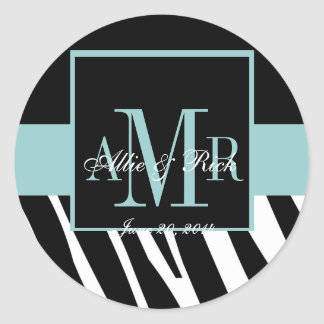 \Blue Zebra Monogram Names Wedding Favour Labels Round Sticker
