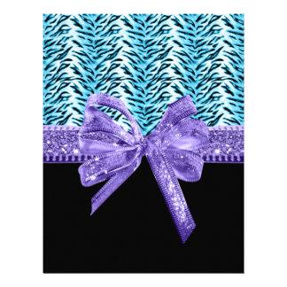 Blue Zebra Print Lavender Glitter Bow Flyer Design