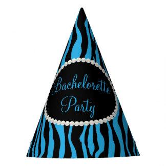 Blue Zebra Print Pearls, Bachelorette Party Hats