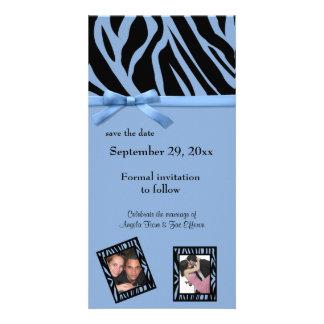 Blue Zebra Save The Date Announcement Picture Card