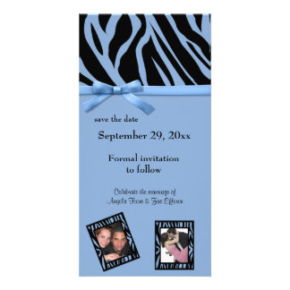 Blue Zebra Save The Date Announcement Photo Greeting Card