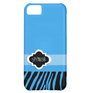 Blue Zebra Stripe Monogram iPhone 5 Case