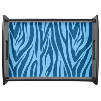 Blue Zebra Stripes Serving Tray