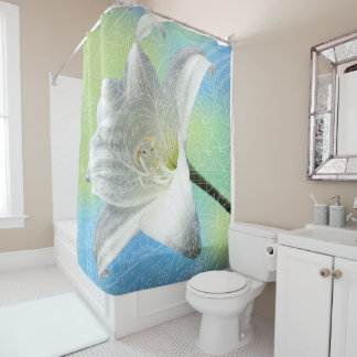 blue zen fantasy shower curtain