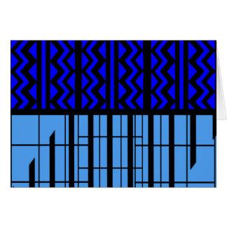 Blue zig zag cubic card
