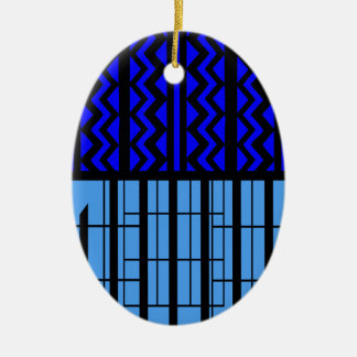 Blue zig zag cubic ceramic oval decoration
