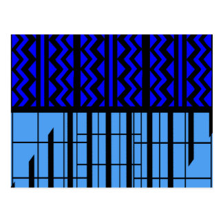 Blue zig zag cubic postcard