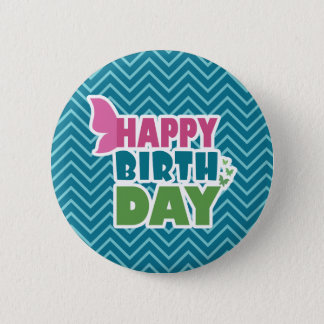 Blue zig zag happy birthday pinback button gift