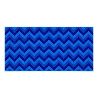 Blue Zig Zag Pattern. Photo Cards