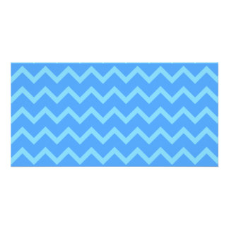 Blue Zig Zag Pattern Picture Card