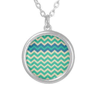 Blue Zigzag Border Round Pendant Necklace