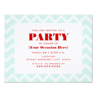 Blue Zigzag & Red Party Invitation