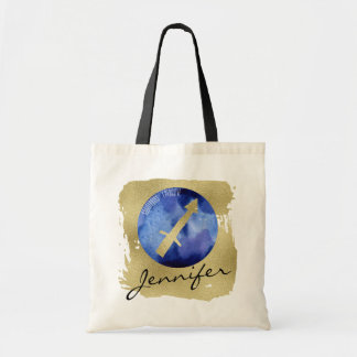 Blue Zodiac Sign Sagittarius on Gold Background Tote Bag