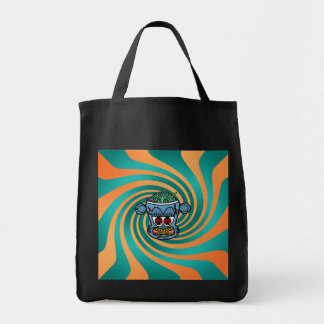 Blue zombie monkey on orange green stripes grocery tote bag