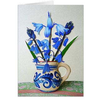 Bluebells in a Jug Greeting Cards