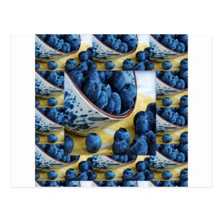 Blueberries chefs healthy diet cuisine salads postcard