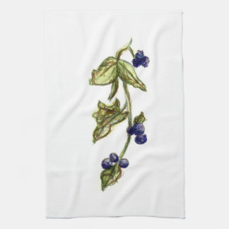 blueberries on vine kitchen dish towel