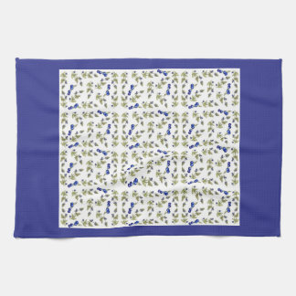 blueberries on vine kitchen towel, Kristie Hubler Tea Towel