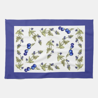 Blueberries on vine kitchen towel larger print