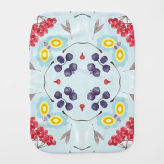 Blueberries Red Berries Watercolor Art Burp Cloth