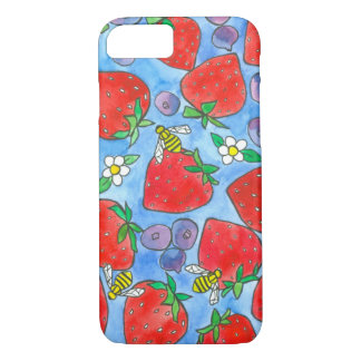 Blueberries Strawberries Honey Bees Watercolor iPhone 7 Case