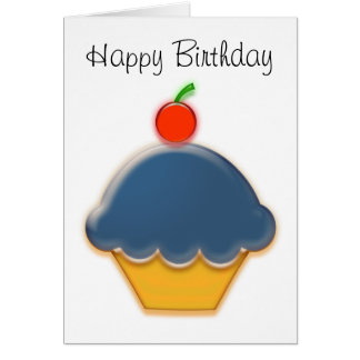 Blueberry and Cherry Cupcake Art Card
