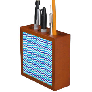 Blueberry Chevron Pattern Zig Zag desk organizer