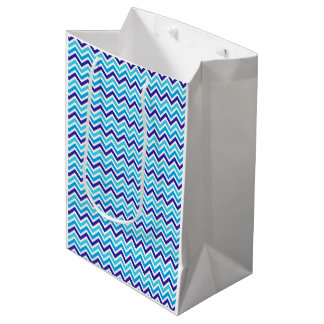 Blueberry Chevron Pattern Zig Zag Print Gift Bag