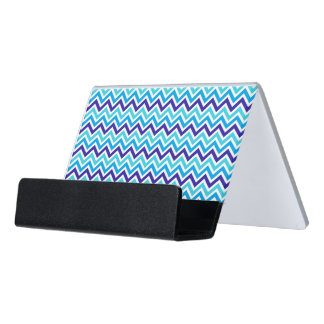 Blueberry Chevron Zig Zag business card holder