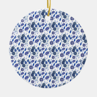 blueberry crush ceramic ornament
