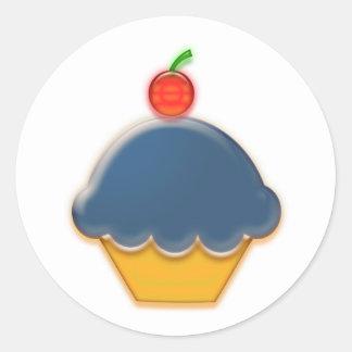 Blueberry Cupcake Art Round Sticker