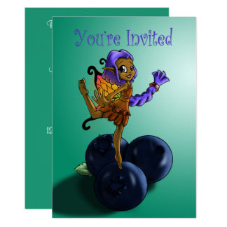 """Blueberry Fairy Halima Birthday Invitation"" Card"
