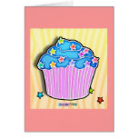 Blueberry Frosted CUPCAKE GREETING NOTE CARD