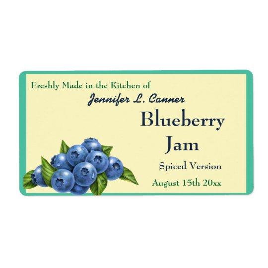 Blueberry Jam or Preserves Fruit Canning Jar Shipping Label