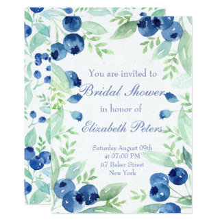 Blueberry Midsummer Rustic Berry Bridal Shower Card