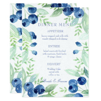 Blueberry Midsummer Rustic Berry Wedding Menu Card