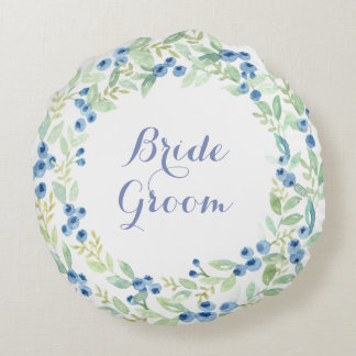 Blueberry Midsummer Rustic Wedding Forever Round Cushion