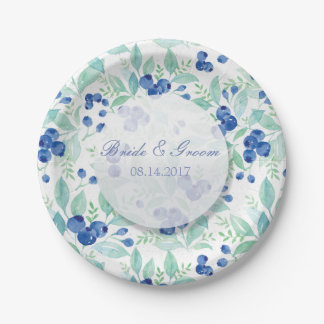 Blueberry Midsummer Rustic Wedding Paper Plate